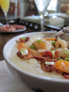 Shrimp and grits....YES!  Now I just need to head to Florida and let my Dad fix them for me.