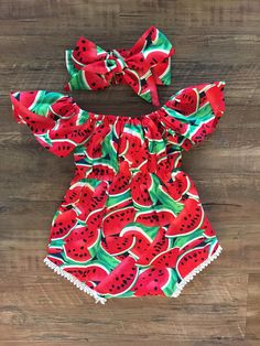 Baby girl romper off the shoulder watermelon romper
