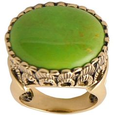 Art Smith by BARSE Green Turquoise Statement Ring ($45) found on Polyvore