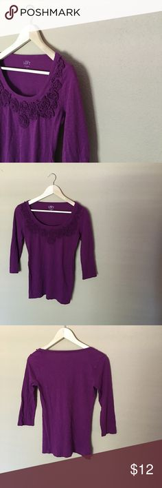 SALE🍍Purple Ann Taylor Blouse🍍 Perfect condition LOFT top with floral detail. 3/4 length sleeves. LOFT Tops