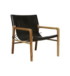 Fenton & Fenton –               Leather Sling Chair - Teak & Black