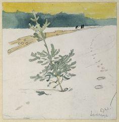 "Carl Larsson ""Vinterlandskap"" (1908).  Påskrift: Sverige.  Akvarell, tusch, blyerts 16 x 15,5 cm. Nationalmuseum"