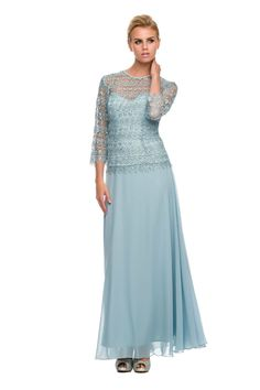 Long Mother of the Bride Lace Sleeve Top Cocktail Gown