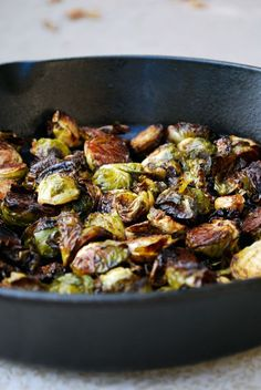 Balsamic roasted Brussels sprouts.