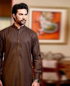 Dark Brown Cotton Kurta for Mens Westford Massachusetts USA Pakistani Indian Kurta Designs