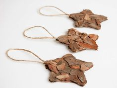 Rustic star  ornaments- Holiday ornaments - fir bark star - Christmas tree ornaments, star ornaments, star Christmas ornaments, set of 3. $12.00, via Etsy.
