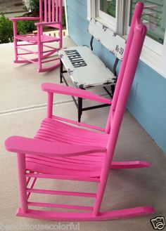 Set of 2 Solid Wood Brightly painted Pink Rocking chairs, Beach, Cottage Chic