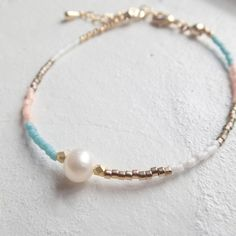 Freshwater pearl multi-color bracelet (Pink Turquoise)