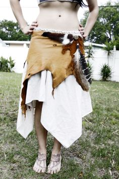 Tribal leather wrap skirt. $205.00, via Etsy.