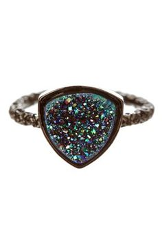 Nadia Agate Geode Druzy Stackable Ring