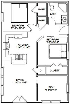 House -- -- 864 sq ft Great layout, but I'd turn the den into the second bedroom and make the BR into a large bathroom. Allowing original bathroom to convert to closet / storage space The Plan, How To Plan, Small House Floor Plans, Cabin Floor Plans, Apartment Floor Plans, Bedroom Floor Plans, Small Room Design, Tiny House Design, House 2