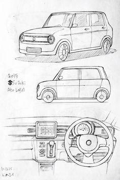 Car drawing 151215  2015 Suzuki Alto Lapin      Prisma on paper.  Kim.J.H