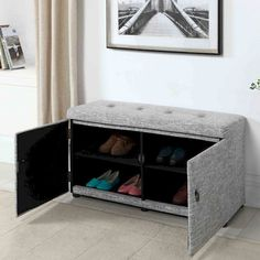 Great Shoe Organizer Ideas That Will Eliminate the Clutter Cabinets are probably the biggest place because of the lack of shoe storage, but once you have a controllable one, you still have a single stack problem at the front door.  #cabinet #homeinteriors #interior #shoe #STORAGEIDEAS Shoe Storage Furniture, Shoe Storage Ottoman, Bench With Shoe Storage, Upholstered Storage Bench, Space Saving Furniture, Home Decor Furniture, Diy Home Decor, Furniture Design, Front Door Shoe Storage