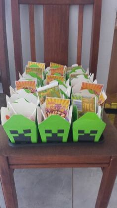 Minecraft party goodie bags #mindcraft #mindcraft party ideas