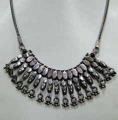 ethnic tribal old silver necklace choker jewelery