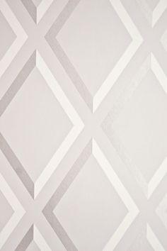 Pompeian Trellis Wallpaper Geometric light Grey and White diamond trellis effect wallpaper with metallic silver embellishment.