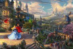 Canvas Artwork, Cool Artwork, Sleeping Beauty Art, Thomas Kinkade Disney, Thomas Kinkade Art, Disney Paintings, Princess Drawings, Chiaroscuro, Animation Film