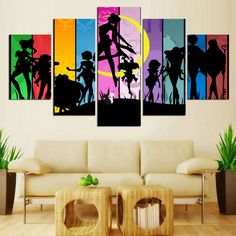 Canvas Painting Wall Art Room Home Decor HD Printed Frame Pictures 5 Pieces Colourful Cartoon Animated Sailor Moon Poster PENGDA #Affiliate