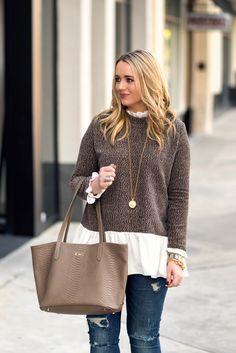 мило-коричнево-бело-длинными рукавами цвета блок-свитер-фантазийных вещи