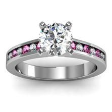 Channel set Pink Sapphire and Diamond Engagement Ring in 18k White Gold