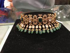 Neck  PREMRAJ SHANTILAL JAIN JEWELLERS Gold Jewellery Design, Handmade Jewellery, Antic Jewellery, Lehenga Jewellery, Jewellery Earrings, Bollywood Jewelry, Bridal Jewelry Sets, Necklace Designs, Fashion Jewelry