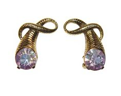 Schiaparelli Earrings, Large Aurora Borealis Rhinestones, Clip, Collectible, Signed, 1950s. $ 155.00, via Etsy.