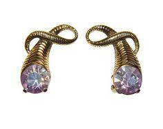 Schiaparelli Earrings, Large Aurora Borealis Rhinestones, Clip, Collectible, Signed, 1950s. $ 155.00, via Etsy.