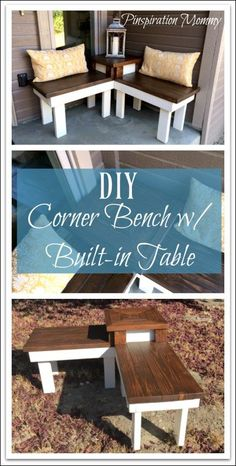 Free plans for building a DIY corner bench with a built-in table.  Build a beautiful farmhouse corner bench for your front porch!
