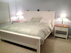 Ana White inspired Farmhouse King Bed Exactly what I want. Plain, simple, clean lines.