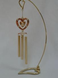 BRAND NEW MASCOT AUSTRIAN CRYSTAL PEDESTAL CHIMES, HEART,FREE SHIP$6.99