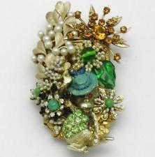 STANLEY Hagler Figurální MONKEY Pin brož drahokamu Pearl Gilt Gorgeous OOAK