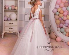 Marfil flores vestido de niña  boda Holiday dama fiesta