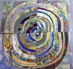 recycled circles workshop with jane lafazio -these look great - use marbled paper for background