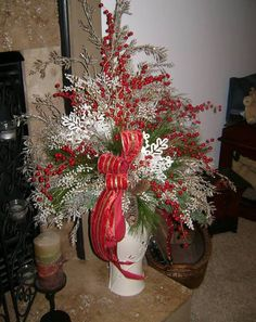 A Lenox container all dressed up for the Holiday. Florals By Jackie
