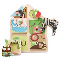 Alphabet Zoo Match & Play Puzzle and thousands more of the very best toys at Fat Brain Toys. Help your little one find a home for every animal! This wooden puzzle teaches little ones to match shapes, letters and pictur. Toys For Us, Toys For 1 Year Old, Alphabet, Toddler Toys, Kids Toys, Alfabeto Animal, Play Puzzle, Puzzle Board, Puzzle Toys