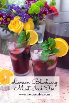 Lemon Blueberry Mint Iced Tea Lemon Blueberry Mint Iced Tea,Drinks and Cocktails This delicious iced tea recipe uses fresh blueberries and fresh mint and it's just the right amount of sweet. Fruit Tea Recipes, Iced Tea Recipes, Tea Time Recipes, Mango Sorbet, Herbal Iced Tea Recipe, Lemon Iced Tea Recipe, Kombucha, Strawberry Banana Milkshake, Strawberry Tea