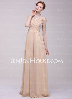 Holiday Dresses - $149.99 - A-Line/Princess V-neck Floor-Length Chiffon Holiday Dress With Ruffle Beading (020025972) http://jenjenhouse.com/A-Line-Princess-V-Neck-Floor-Length-Chiffon-Holiday-Dress-With-Ruffle-Beading-020025972-g25972