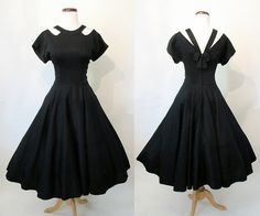 Cute as the Dickens 1950's Black Cotton Summer by wearitagain
