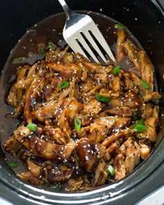 Slow cooked chicken breasts tossed in a sweet and tangy Asian inspired sauce. An easy weeknight meal the whole family will love! Slow Cooker Honey Garlic Chicken This Honey Garlic Chicken takes Best Crockpot Recipes, Slow Cooker Recipes, Cooking Recipes, Healthy Recipes, Honey Recipes, Asian Recipes, Healthy Food, Healthy Eating, Quick Recipes