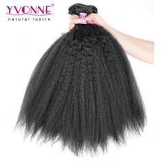 YVONNE Kinky Straight Weave Brazilian Virgin Hair ,3 Bundles Unprocessed Hair Extensions, 100% Human Hair Weft,Color 1B