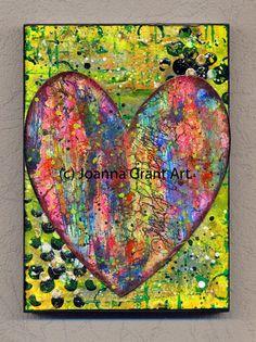 ORIGINAL Mixed Media Collage Art Block Boho Heart by JoannaGrantArt on Etsy