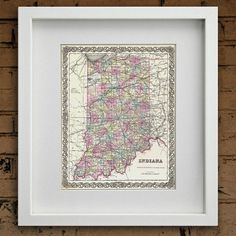 Antique Map of the State of Indiana ca 1855 by PortofPrints