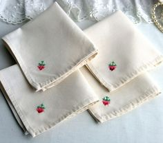 Cross stitched embroidery linen napkin NL-024-Ollko linen by ollkolimited