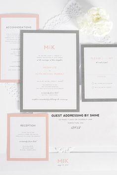 Gray and Blush Wedding Invitation Unique by ShineInvitations