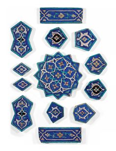 A Group Of Polygonal Timurid Cuerda Seca Pottery Tiles Probably Khargird, North-east Iran, Ad Arabic Design, Arabic Art, Islamic Tiles, Islamic Art, Slab Pottery, Pottery Art, Belle Epoque, Art Nouveau, Devian Art