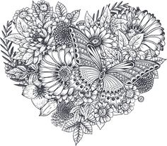 Pretty Black and White Butterfly Flower Heart Pen Art Vinyl Decal Sticker White Butterfly, Butterfly Flowers, Butterfly Sketch, Butterfly Mandala, Purple Flowers, Spring Flowers, Free Adult Coloring Pages, Coloring Book Pages, Stylo Art
