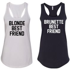 Blonde Best Friend and Brunette Best Friend Tank Tops for Best Friends... (£11) ❤ liked on Polyvore featuring tops, grey, tanks, women's clothing, grey tank top, racer back tank top, racerback tank tops, gray racerback tank and grey racerback tank