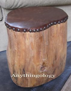 This would be wonderful outside. This site also shows some stumps painted white for indoor end tables. Anythingology: My leather studded stump Diy Garden Furniture, Furniture Legs, Rustic Furniture, Furniture Decor, Log Home Decorating, Diy Home Decor, Furniture Gliders, Stump Table, Log Table