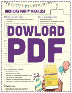 Printable Birthday Party Planning Checklist. Organize your child's birthday party with a step-by-step outline of what to buy and organize by week/day.