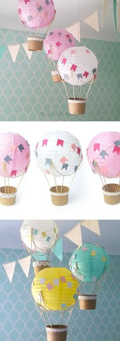 Whimsical Hot Air Balloon Decoration DIY kit , Nursery Decor , unisex Baby shower , Wedding Decor Travel Theme Decor - set of 3